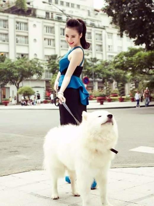 Angela Phương Trinh xinh đẹp tươi tắn với bộ ảnh cùng với một chú chó khá sang trọng đi dạo trên phố. Dù bận rộn tập luyện cho Bước nhảy hoàn vũ nhưng nữ hoàng thị phi vẫn dành chút thời gian cho những phút thư giãn nhẹ nhàng với thú cưng.