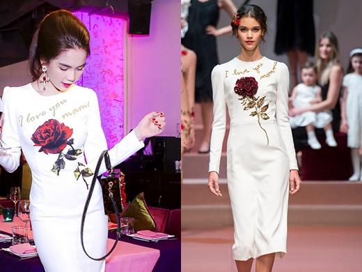 Sự khác biệt giữa hai mẫu thiết kế ở họa tiết hoa hồng, một được thêu 3D tinh tế và một chỉ in chìm