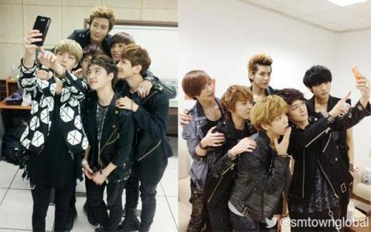"""Các chàng trai EXO bị """"chộp"""" những khoảnh khắc đáng yêu khi ăn và trang điểm nhưng lúc nào cũng không quên """"tự sướng"""" tập thể."""
