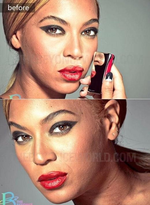 Beyonce với làn da đầy tì vết, sần sùi khi chưa chỉnh sửa ảnh