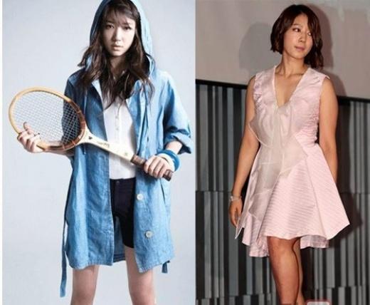 Park Shin Hye với đôi chân thô kệch trước khi Photoshop (phải)