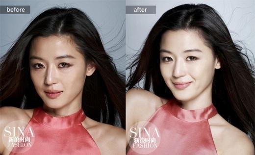 Jun Ji Hyun không có nhiều sự thay đổi trước và sau khi photoshop. Nhưng dù sao, nhờ công nghệ ảnh, cô cũng trẻ ra cả chục tuổi.