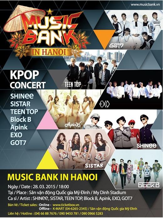 Chanyeol, Bora, Onew sẽ làm MC tại Music Bank Hà Nội
