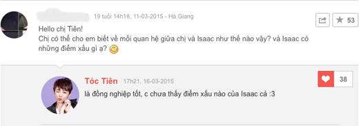 Tóc Tiên nhận được rất nhiều câu hỏi của fan về Isaac. - Tin sao Viet - Tin tuc sao Viet - Scandal sao Viet - Tin tuc cua Sao - Tin cua Sao