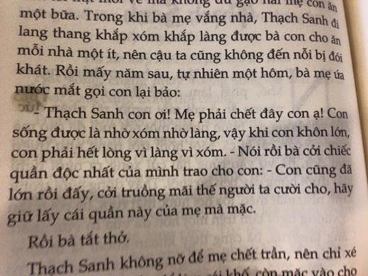 Đoạn trích Thạch Sanh được mẹ nhường khố.