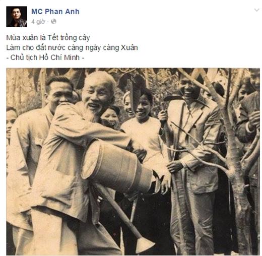 Ca sĩ Mỹ Linh và MC Phan Anh chọn cách đăng tải ảnh Bác Hồ với nụ cười rạng rỡ khi được tự tay chăm sóc cây xanh nhằm đánh thức tinh thần bảo vệ mầm sống cho nhân loại.