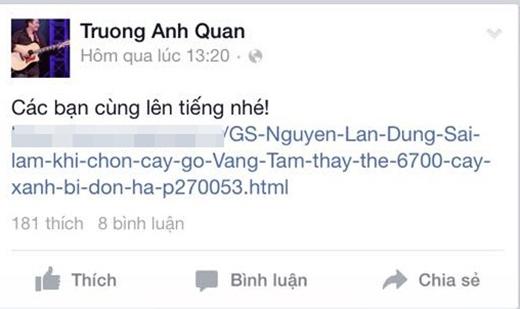 Nhạc sĩ Anh Quân, ca sĩ Văn Mai Hương, Thái Thùy Linh,.. kêu gọi người dân chung tay thực hiện chiến dịch góp chữ ký bảo vệ 6700 cây xanh thủ đô.