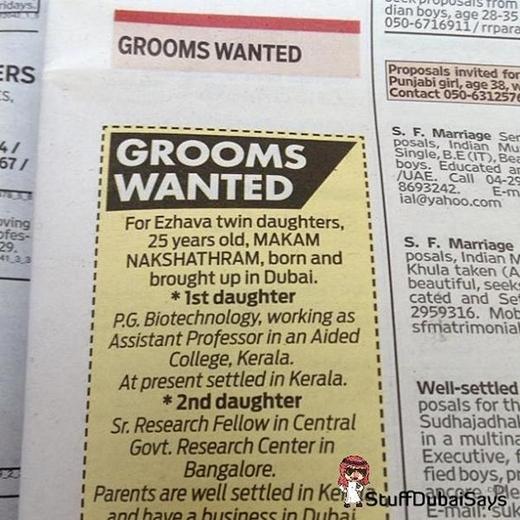Bảng tin tìm chồng cho con gái.