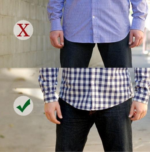 Chọn áo sơ mi ngắn thay vì những áo sơ mi có chiều dài quá khổ. Chúng sẽ giúp cân bằng tỉ lệ cơ thể của bạn. Một chiếc áo quá dài hoặc quá rộng sẽ làm bạn trông giống như bạn đang mặc nhầm áo của một người nào đó.