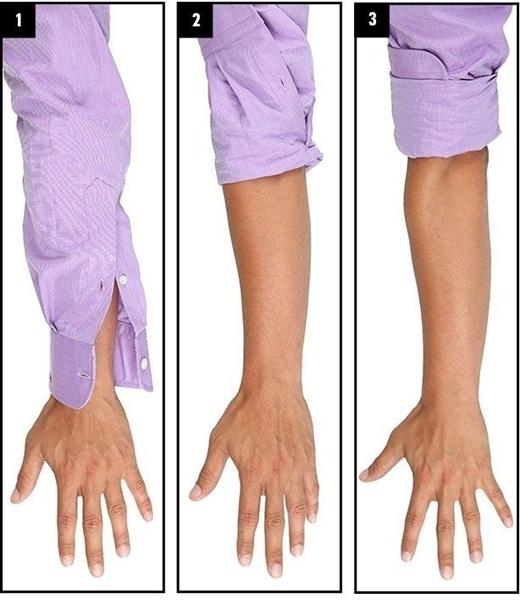 Đừng chọn những chiếc áo ngắn tay, hãy đầu tư vào những chiếc áo sơ mi tay dài và xắn tay áo lên nếu bạn cảm thấy vướng víu. Những chiếc áo tay ngắn sẽ cắt giảm tổng thể chiều dài đôi tay của bạn, khiến cho bạn trông nhỏ nhắn và lùn đi.