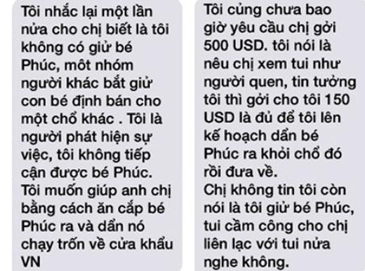 Tin nhắn với nội dung trao đổi tiền bạc với gia đình nạn nhân.