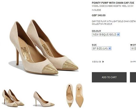 Đôi giày cap-toe pha trộn chất liệu da lộn và xích kim loại siêu mảnh là sản phẩm của nhà mốt Salvatore Ferragamo, có giá 540 bảng Anh (hơn 17 triệu đồng). - Tin sao Viet - Tin tuc sao Viet - Scandal sao Viet - Tin tuc cua Sao - Tin cua Sao