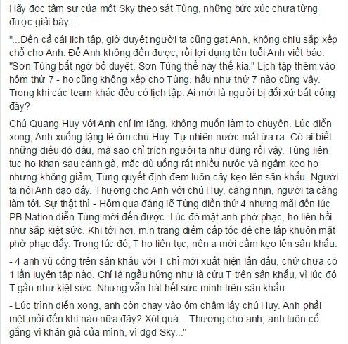 Chia sẻ từ một bạn fan ruột của Sơn Tùng M-TP