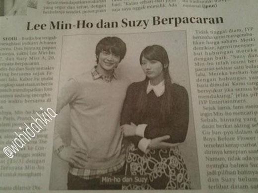 Báo địa phương của Indonesia đăng tin hẹn hò của Suzy và Lee Min Ho nhưng để hình của Minho (SHINee)