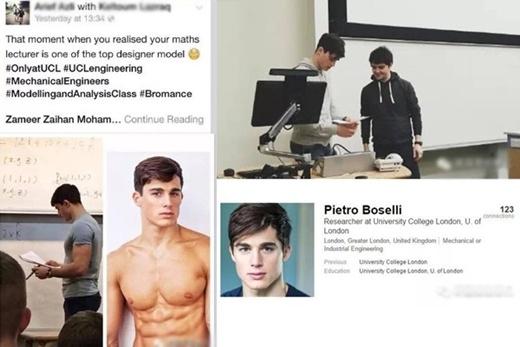Ảnh của thầy Pietro khi đứng trên lớp giảng dạy được các sinh viên chia sẻ trên mạng.