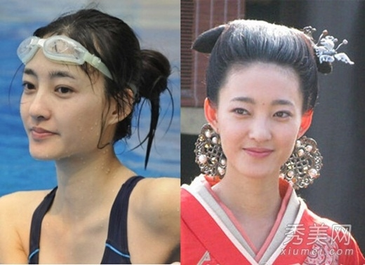 Vương Lệ Khôn dù thường được đóng vai mỹ nhân cổ trang nhưng gương mặt gầy gò, đôi môi mỏng, mặt nhọn lại khiến cô trở nên thô kệch hơn hẳn hình ảnh ngoài đời.