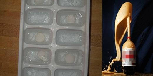 Bạn sẽ không muốn bỏ những viên đá có kẹo mentos vào ly nước ngọt nếu bạn không muốn chứng kiến bọt nước ngọt bắn ra tung tóe như trên.