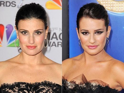 Lea Michele và Idina Menzel trông giống nhau đến mức nhà sản xuất Glee đã mời Menzel đóng vai mẹ của Rachel (Lea Michele thủ vai) trong series phim truyền hình này bởi không còn ai có thể phù hợp hơn.
