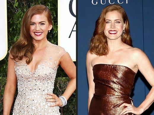 Hai người đẹp tóc đỏ của Hollywood này không những có vẻ ngoài trông giống hệt nhau mà còn có giọng nói cũng y hệt nhau nữa. Đến mức rất nhiều người không nhớ ai đóng Enchanted (Amy Adams) và ai đóng Confessions of a Shopaholic (Isla Fisher)