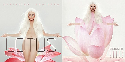 Christina Aguilera cố ý thể hiện sự quyến rũ của mình trên bìa album Lotus, tuy nhiên để đến được với Ả Rập, cô đã phải che đậy cơ thể mình dưới những lớp cánh hoa sen.