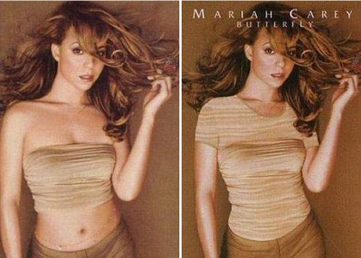 Mariah Carey lại được thay áo khác kín đáo hơn, che được cả phần ngực và bụng của cô trên bìa album Butterfly