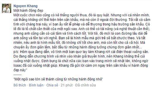 Chia sẻ của MC Nguyên Khang trên trang cá nhân đã thu hút sự chú ý của đông đảo khán giả - Tin sao Viet - Tin tuc sao Viet - Scandal sao Viet - Tin tuc cua Sao - Tin cua Sao