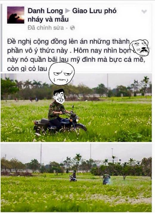 Thanh niên gây bức xúc khi chạy xe máy trên Bãi lau, Mỹ Đình.