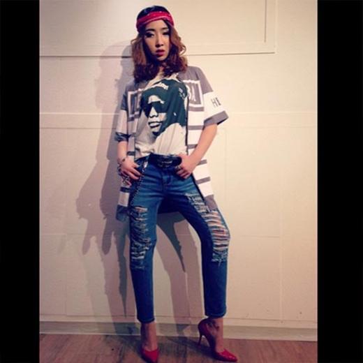 Minzy khoe phong cách thời trang ra đường ngày hôm nay