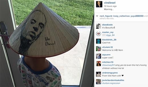 Fan Việt tự hào khi Vin Diesel khoe nón lá trên trang cá nhân