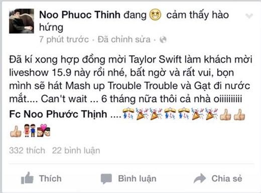 Taylor Swift sẽ tham dự liveshow của Noo Phước Thịnh? - Tin sao Viet - Tin tuc sao Viet - Scandal sao Viet - Tin tuc cua Sao - Tin cua Sao