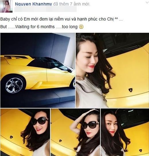 Cô từng chia sẻ đã tậu siêu xe Lamborghini ở Mỹ và chiếc xế hộp hạng sang này sẽ vế đến Việt Nam vào tháng 6 tới. - Tin sao Viet - Tin tuc sao Viet - Scandal sao Viet - Tin tuc cua Sao - Tin cua Sao