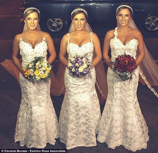 Ba chị em sinh ba đã quyết định kết hôn cùng một ngày trong cùng một kiểu tóc, váy cưới và trang điểm khiến cho các chú rể bối rối vì sợ nhận nhầm vợ mình.