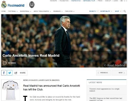 Real chính thức sa thải Ancelotti, bổ nhiệm Zidane!