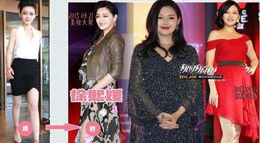 Từ Hy Viên vốn là người đẹp có tiếng mảnh mai đến mức gầy gò của làng giải trí Đài Loan. Cũng nhờ thế, cô từng đốn ngã nhiều anh chàng trẻ tuổi bởi vẻ đẹp không tuổi của mình. Nhưng đó đã là chuyện quá khứ bởi hình ảnh mới đây cho thấy, Từ Hy Viên đã phát phì và đúng tuổi U40.