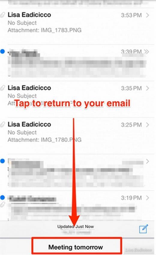Khi bạn đang soạn email, bạn nhận được một email hay thông báo mới cần xem ngay. Lúc này, bạn thường xóa email đó. Bạn không cần phải làm điều này bởi trên iPhone, bạn chỉ cần chạm vào Email mới hoặc tiêu đề của email ở phía trên cùng rồi kéo xuống phía dưới cùng để xem các email khác. Để quay lại email chứa nội dung đang soạn dở dang, bạn chỉ cần vuốt lên để chạm lại email đó.