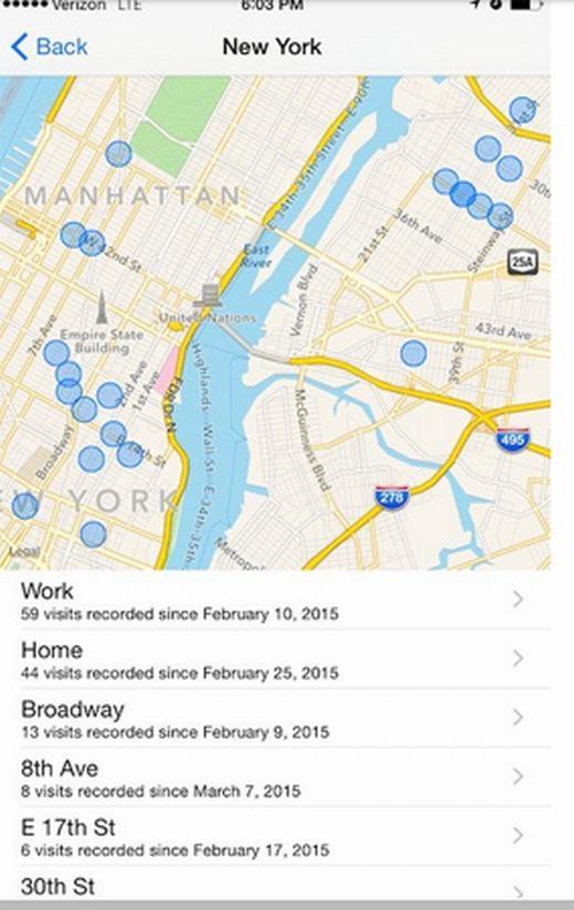 Khi vào Settings > Privacy > Location Services > System Services > kéo xuống dưới cùng > Frequent Locations, hoặc xem lại mục Lịch sử là bạn có thể xem được những nơi mình đã từng ghé qua cùng với iPhone.