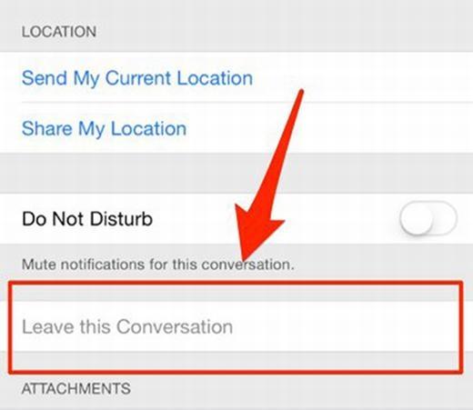 Bằng cách chọn Details > Leave Conversation, bạn có thể thoát ngay chat nhóm iMassage.