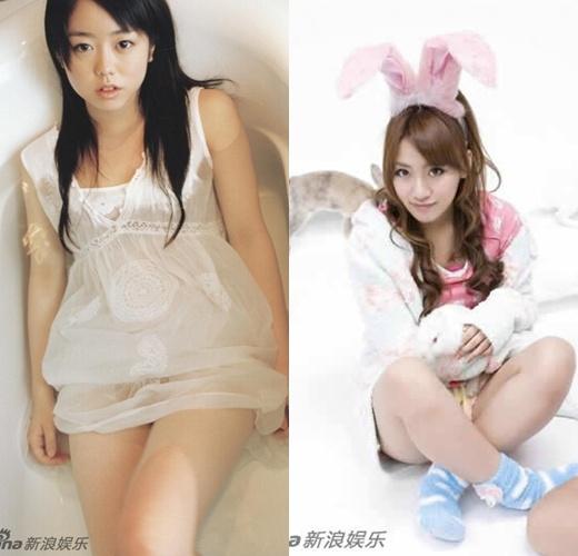 Hai trong số các thành viên AKB48 thả ga tham dự buổi tiệc
