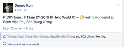 Ricky born : 7:19am 2/4/2015 !!! Hello World !!! (Ricky chào đời lúc 7:19am 2/4/2015. Xin chào cả thế giới) - Tin sao Viet - Tin tuc sao Viet - Scandal sao Viet - Tin tuc cua Sao - Tin cua Sao