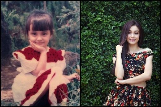 Bông hồng laiMleengày càng quyến rũ và xinh đẹp, nhưng nhìn hai bức ảnh, trông cô nàng vẫn giữ được những nét xinh đẹp của thủa bé.