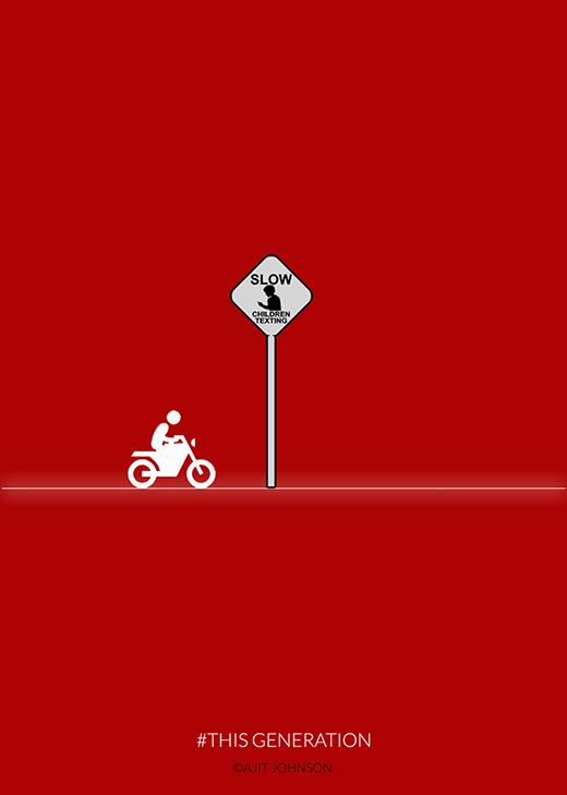 Bảng thông báo thời nay: Chạy chậm lại! Trẻ em đang vừa đi vừa nhắn tin.