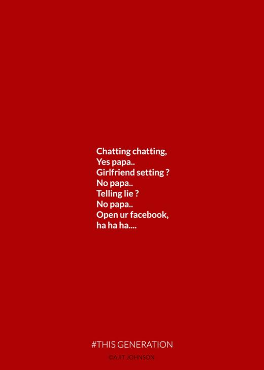 """""""Nhắn tin nhắn tin, Sao thế ba? Có bạn gái chưa? Chưa, thưa ba... Có nói dối không? Không, thưa ba... Vậy mở facebook con đi, ha ha ha…"""" => Cách tốt nhất để """"nhị vị phụ huynh"""" theo dõi đời sống tâm sinh lý của con cái thời nay chính là… hãy """"lén"""" kết bạn và cập nhật facebook của con cái thường xuyên."""