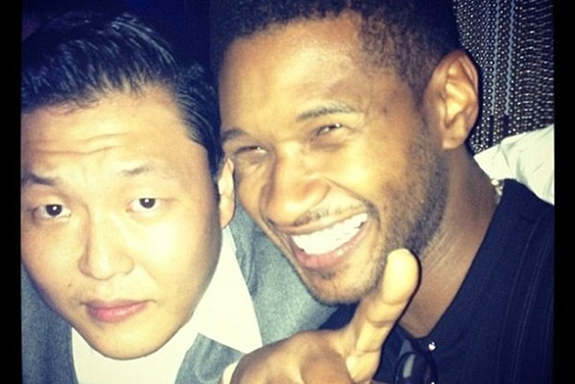 PSY và Usher tại một hộp đêm ở New York vào tháng 9/2012.