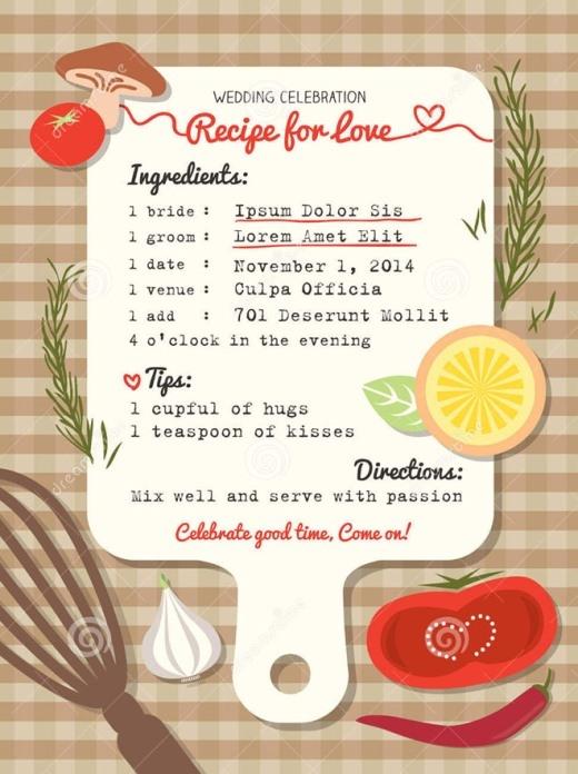 Tấm thiệp cưới Thực đơn tình yêu của cặp đôi có niềm đam mê ẩm thực