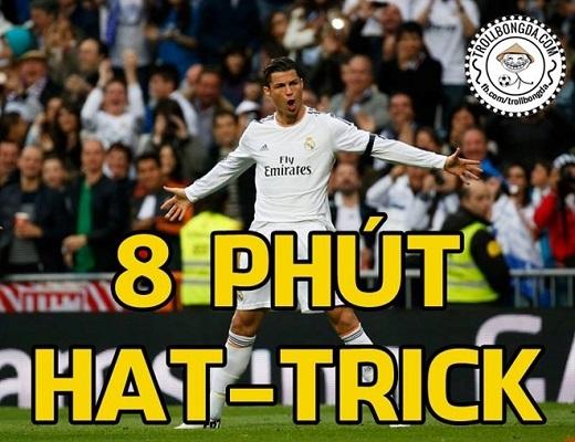 Cristiano Ronaldo chỉ mất 8 phút để ghi 3 bàn vào lưới Granada. Đây cũng là hat-trick nhanh nhất trong sự nghiệp thi đấu của siêu sao người Bồ Đào Nha.