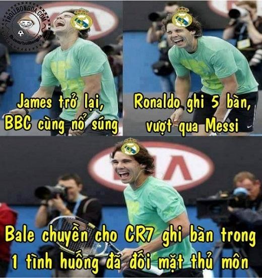 Niềm vui của fan Real được nhân lên gấp bội sau chiến thắng 9-1 của đội nhà. Tiền vệ trẻ James Rodriguez đánh dấu sự trở lại sau chấn thương bằng pha kiến tạo để Ronaldo nâng tỷ số lên 2-0. Ronaldo ghi 5 bàn. Bộ ba B.B.C cùng khai hỏa. Bale từ bỏ lối chơi cá nhân khi lập cú đúp kiến tạo.