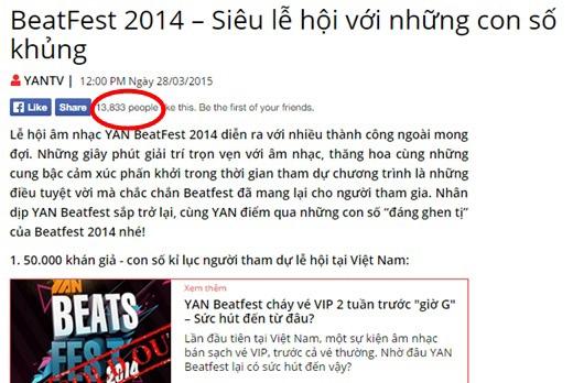 Những bài viết về Yan BeatFest 2015 cũng nhận được sự quan tâm không hề nhỏ từ cư dân mạng.
