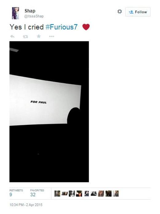 Dòng chữ dành cho Paul hiện lên vào cuối phim.