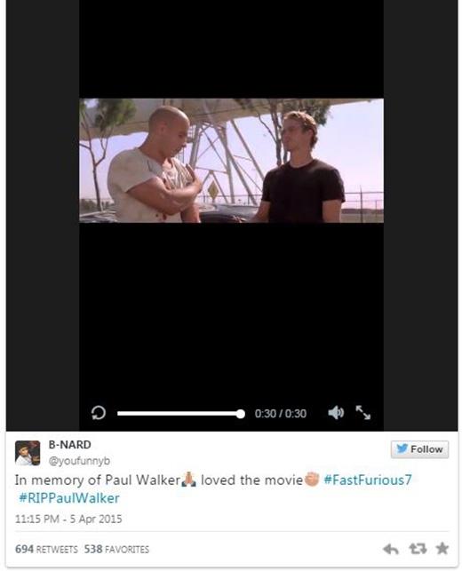 'Tưởng nhớ đến Paul Walker, yêu bộ phim này'.