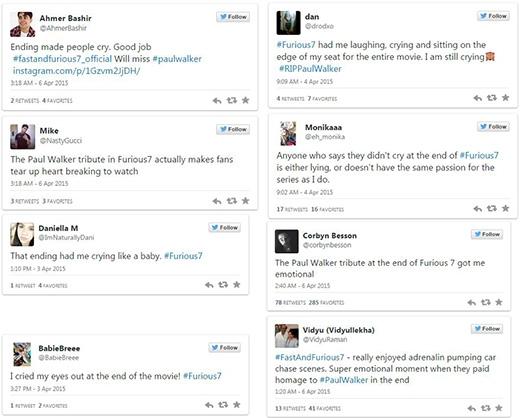 Những người hâm mộ 'thay nhay khóc' trên mạng xã hội Twitter vì đoạn kết của Furious 7.